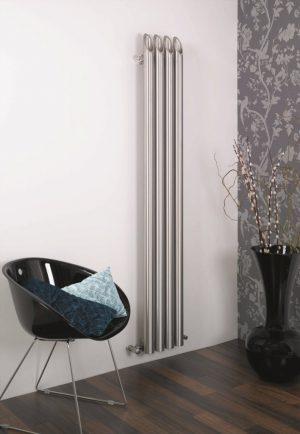 Edelstahl vertikaler design heizkörper barok küche wohnzimmer wohnraum heizung