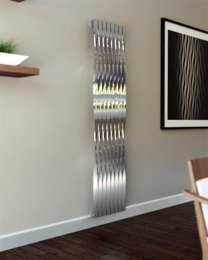 Edelstahl vertikaler design heizkörper essa küche wohnzimmer wohnraum heizung