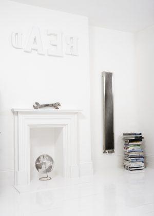 Edelstahl vertikaler design heizkörper artiz küche wohnzimmer wohnraum heizung